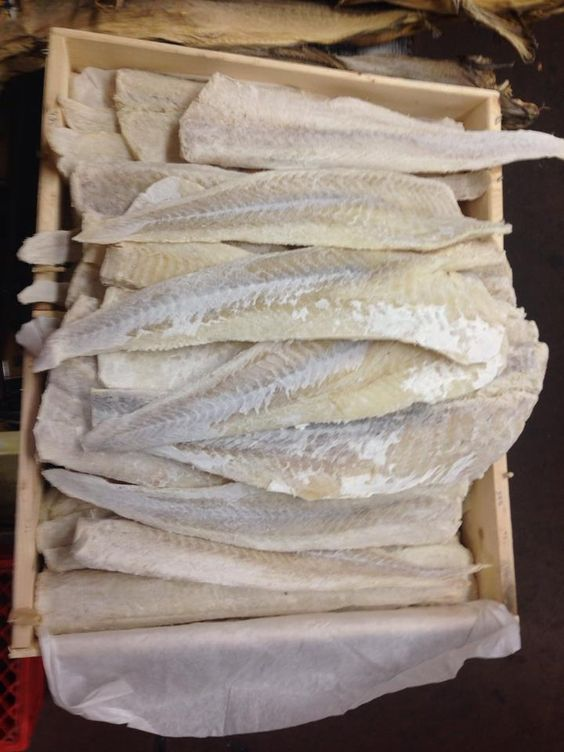 Dried salted Cod fish. My Mom in law would make this every year. I ...