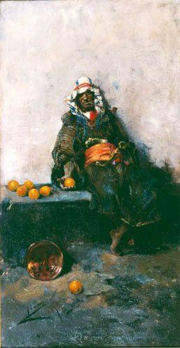 """ETAPA DE FORMACIÓN (1863-1888) """"MORO CON NARANJAS"""". En 1885 Sorolla es pensionado en Italia por la Diputación Provincial de Valencia. En un primer momento sufre la influencia de Mariano Fortuny, que aunque ha fallecido hace más de diez años sigue latente en el mundo romano. Aquí nos plantea un tema orientalista, tan queridos por el pintor de Reus y sus seguidores, caracoleando las líneas de su composición."""