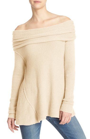 """- Knit in a rich cotton blend with a soft feel, this cozy sweater is styled with a swingy silhouette and a fold-over off-the-shoulder neckline for an of-the-moment finish. - 24 1/2"""" length (size Mediu"""