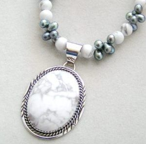 Freshwater Pearl Howlite Beaded Necklace with Sterling Silver Pendant By Native American Herman Lee