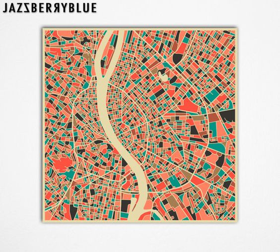 BUDAPEST Map HUNGARY Giclee Fine Art Print Modern by JazzberryBlue, $30.00