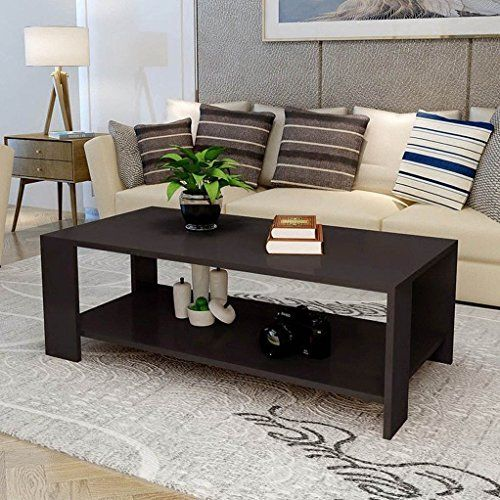 Black White Modern Rectangle Coffee Table End Table Living Room