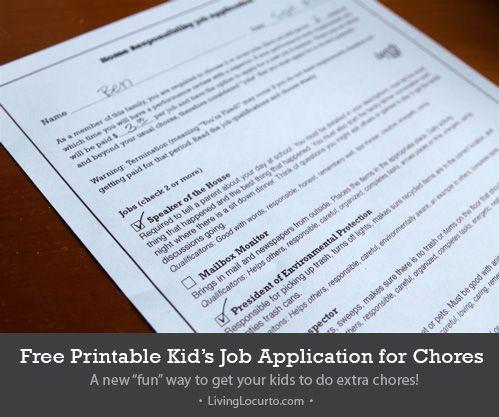 "A fun free printable ""job application"" for kids chores."