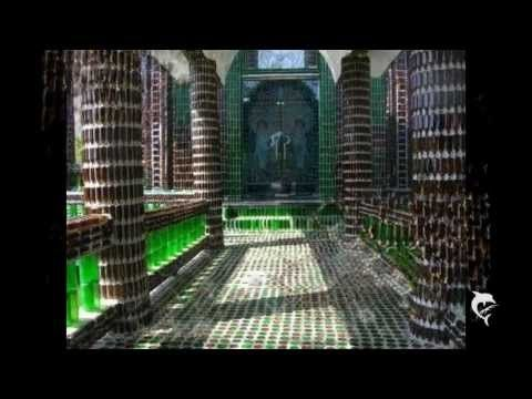 Temple made of recycled glass bottled