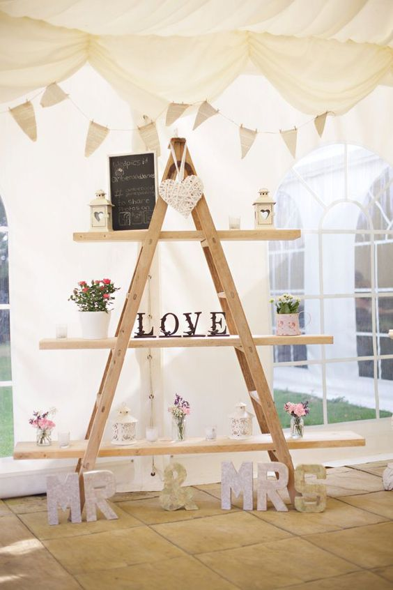 Engagement pictures wedding and ladder decor on pinterest for Indoor marquee decoration