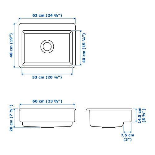 Havsen Evier Avec Face Avant Visible Blanc 62x48 Cm Evier Ikea Deco Maison