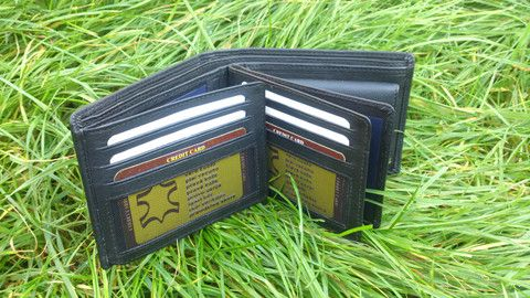 Mens Genuine Leather Wallet Multiple Sections Horizontal