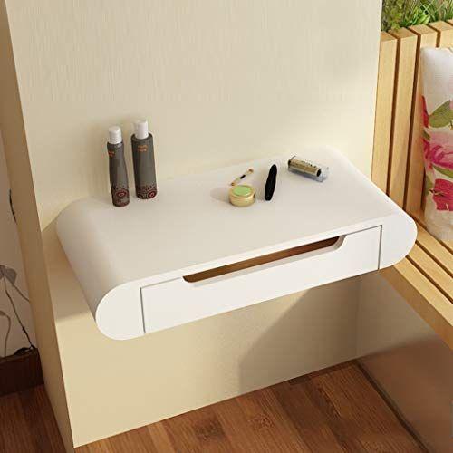 Floating Shelf White Bedside Vanity Dressing Table Floating Makeup Dresser Table Cosme In 2020 Floating Drawer Wall Dressing Table Floating Shelf With Drawer