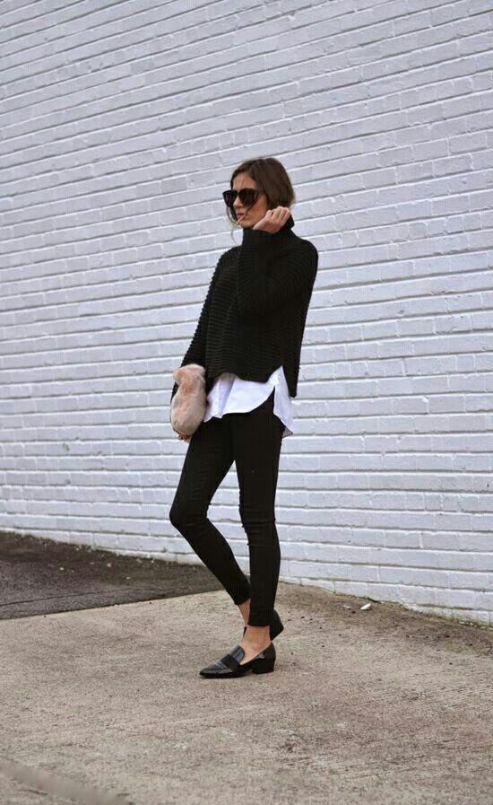 oversize mockneck sweater + shirt + skinny + loafer