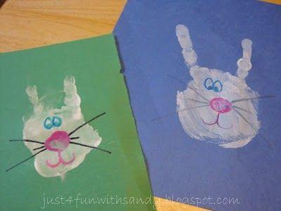 Easter handprint bunnies- very clever : )
