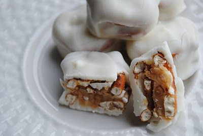White chocolate, caramel and pretzels-hubby loved these