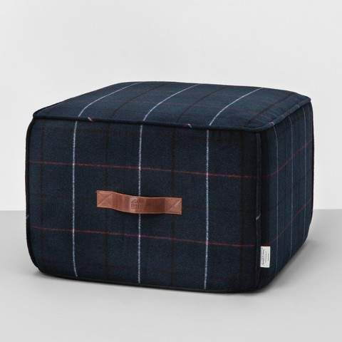 Astonishing Hearth Hand With Magnolia Pouf Ottoman Blue Plaid This Ncnpc Chair Design For Home Ncnpcorg