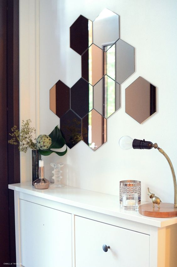 ikea h nefoss honeycomb mirror diy home pinterest nids d 39 abeilles miroir et ikea. Black Bedroom Furniture Sets. Home Design Ideas