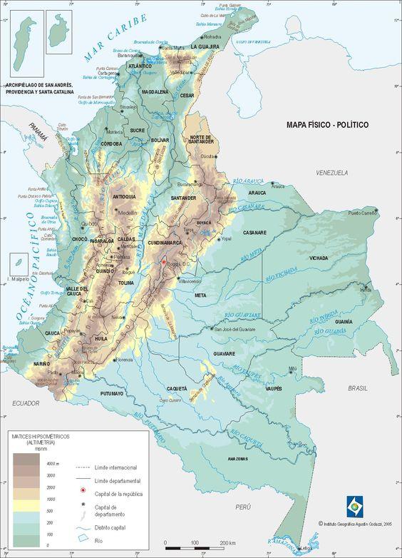 Mapa fsico con ros de Colombia  Mapas del Mundo  Pinterest