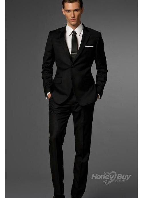 Wool Side Vented Notch Lapel Black Suits For Men Custom made