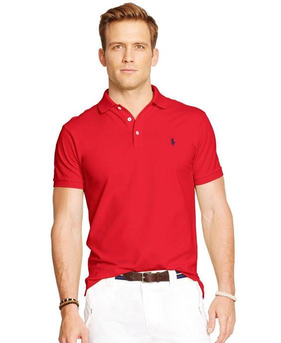 Polo Ralph Lauren Custom-Fit Stretch-Mesh Polo - Polos - Men - Macy\u0026#39;s