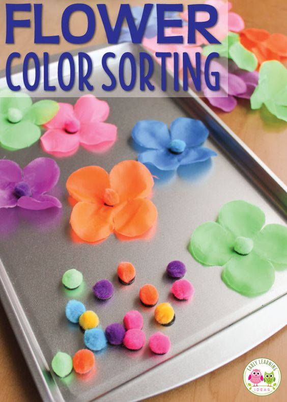 Here are a couple flower color sorting activities that you can make with a Hawaiian lei. Kids can work on color sorting, number sense, and patterning with these cute activity ideas. Perfect for your flowers theme, plant theme, spring theme, summer theme units and lesson plans. For your tot school, pre-k, and preschool class math centers or math work stations. teach colors, color sorting, color matching, flower activity ideas