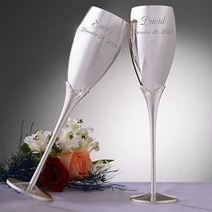 Engraved Silver Wedding Champagne Flute Set - i just wish it didn't have the little rhinestone blah on it