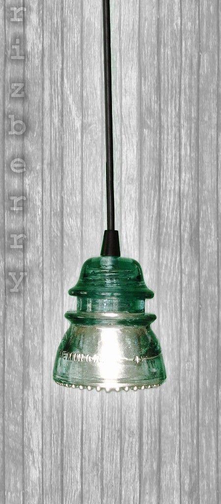 Repurposed Glass Insulator Pendant Light With Black Canopy