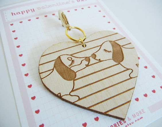 Valentine's Day Teriyaki and BBQ the Dachshund Dogs Heart Wooden Engraved Keychain Zipper Pull with Card Packaging. $7.00, via Etsy.
