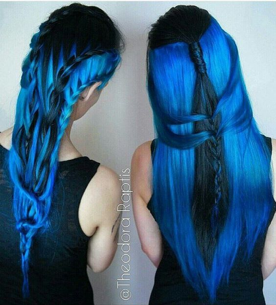 Base Color And Balayage To Royal Blue Yelp Of Hair Color