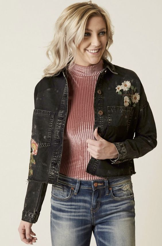 Embroidered Jean Jacket : Dance & Marvel Floral Jacket | Buckle