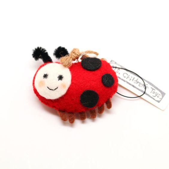 Spotted Ladybug Felt Pin Keychain Ornament by MsChildrensToys