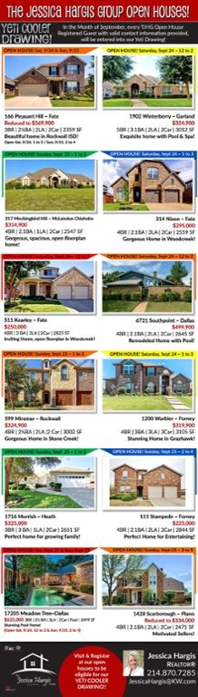 Results That Move You! The Jessica Hargis Group is holding 14 OPEN HOUSES this weekend around the DFW Area! Come see these beautiful homes and register to win our September Yeti Cooler Give Away!!