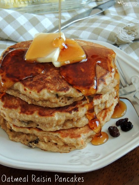 Delicious Warm Oatmeal Raisin Pancakes, perfect for a weekend ...