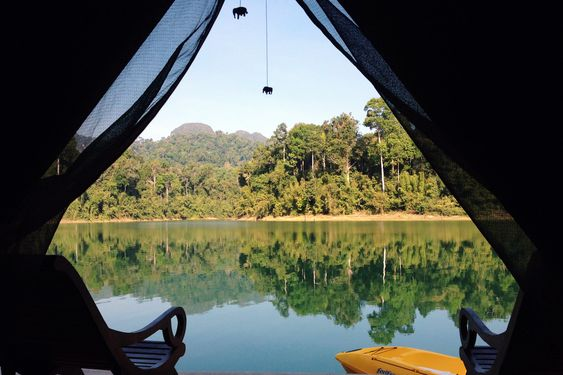 Khao Sok National Park, south Thailand: Glamping in floating luxury safari tents on Cheow Lan Lake, surrounded by ancient rainforest. Read more: Black Dots White Spots Travel Blog