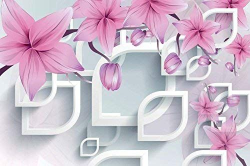 3D Flower pink fresh photos Wall Paper Print Decal Wall Deco Indoor wall Mural