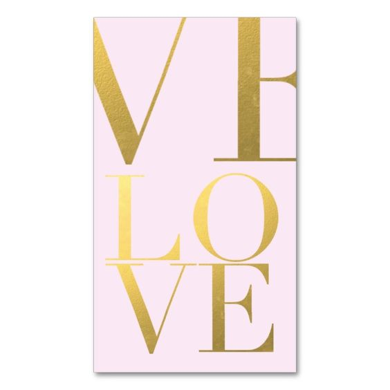 faux gold foil love pink double sided standard business cards pack of 100