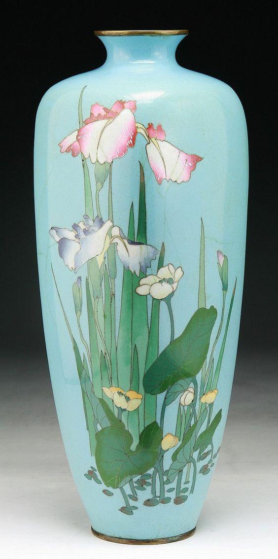"A Japanese Antique Ginbari Vase  Dimensions: H: 12-1/4"""