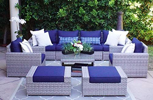 New Sunhaven Resin Wicker Outdoor Patio Furniture Set 9 Piece