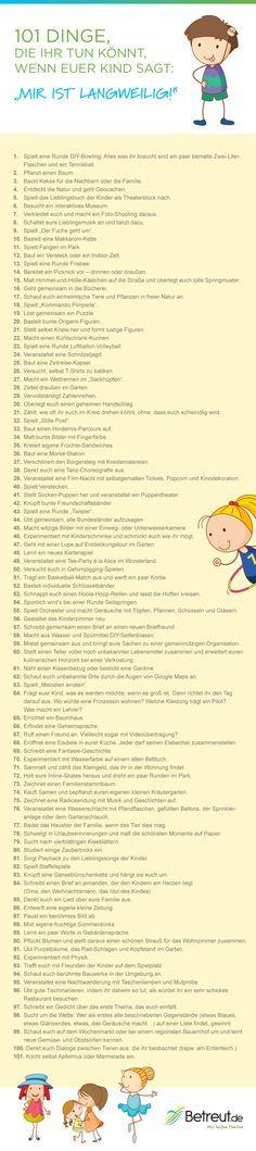 """Kinder sind manchmal ziemlich unkreativ wenn es darum geht, sich selbst zu beschäftigen. In unserer Infografik findet ihr eine Vielzahl von Anregungen um dem """"mir ist langweilig"""" der Kleinen zu begegnen!"""