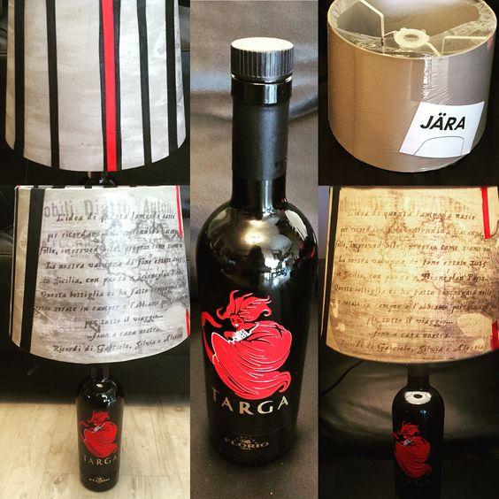 Lampada ricavata da bottiglia di Marsala, paralume Ikea personalizzato