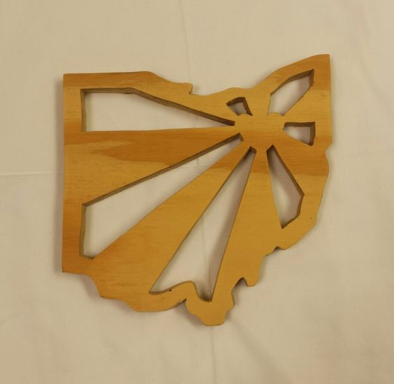 Ohio Shaped Wood Trivet / Wall Hanging - Akron