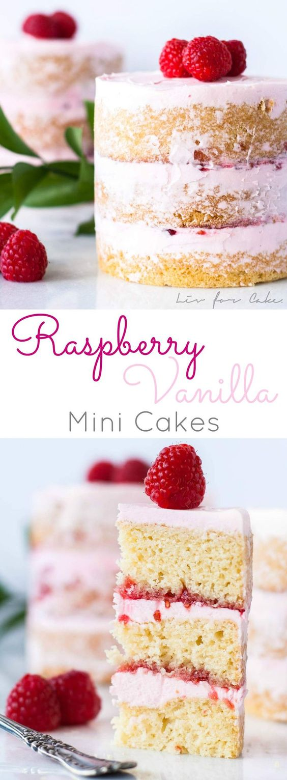 Pretty Pink Raspberry Vanilla Mini Cakes Recipe via Liv for Cake - Buttery cake with a creamy vanilla frosting layered with raspberry jam. Perfect for Valentine's Day, Mother's Day, Easter or Showers! The BEST Bite Size Dessert Recipes - Mini, Individual, Yummy Treats, Perfectly Pretty for Your Baby and Bridal Showers, Birthday Party Dessert Tables and Holiday Celebrations! #bitesizedesserts #individualdesserts #minidesserts #tinyfood #partydesserts #dessertsforacrowd #dessertrecipes #holidayrecipes