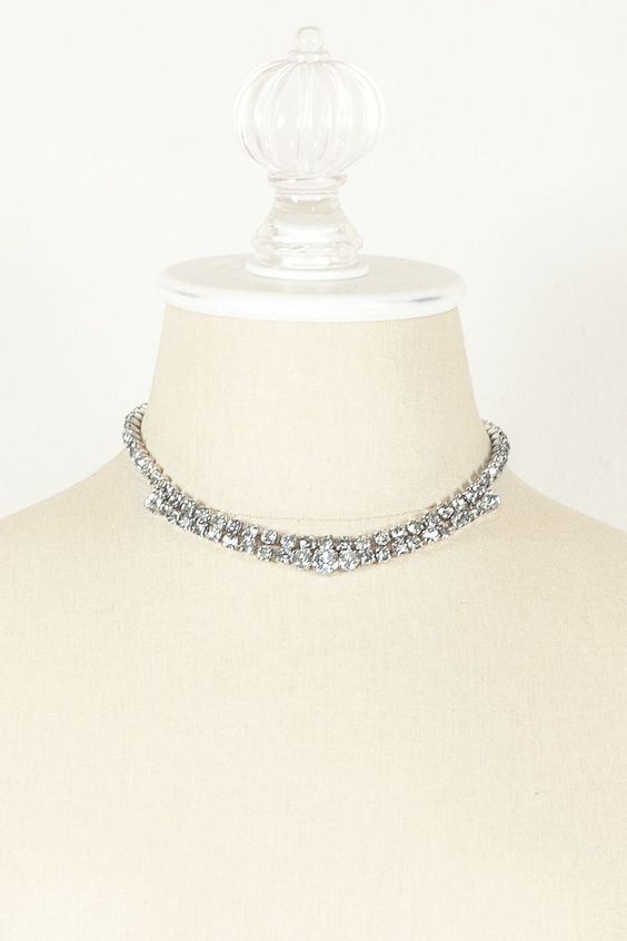 60's__Vintage__Double Strand Rhinestone Necklace