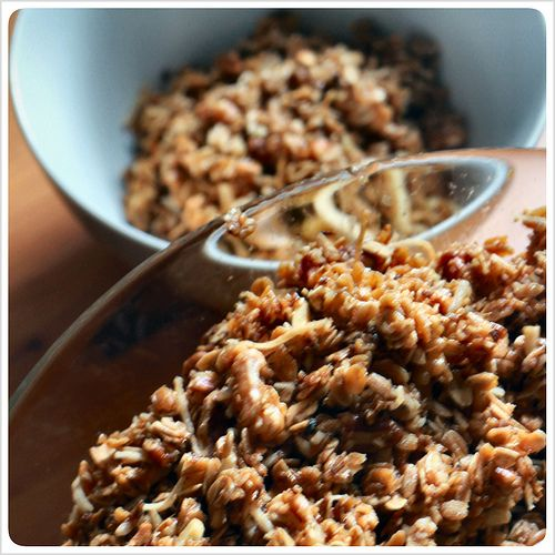 Use up your spent grains by making this granola!  Loaded with nuts, oats, coconut and honey.