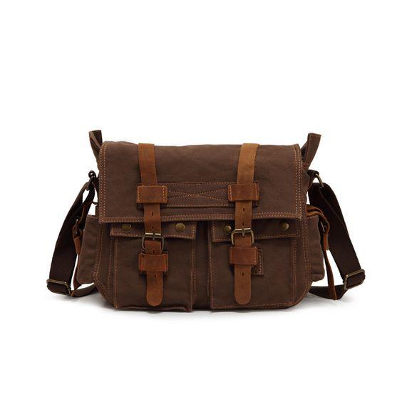 (Buy here: http://appdeal.ru/29xb ) Geniue Leather + canvas messenger bags fashion Men shoulder bags Postman handbag crazy horse Men's bag for just US $45.00