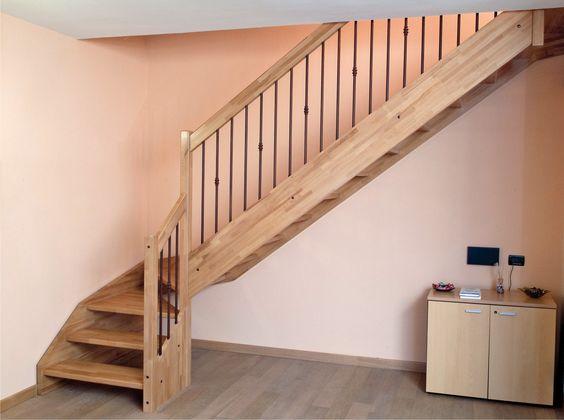 Escalier quart tournant en bois avec garde corps acier bois - Echelle pour escalier tournant ...