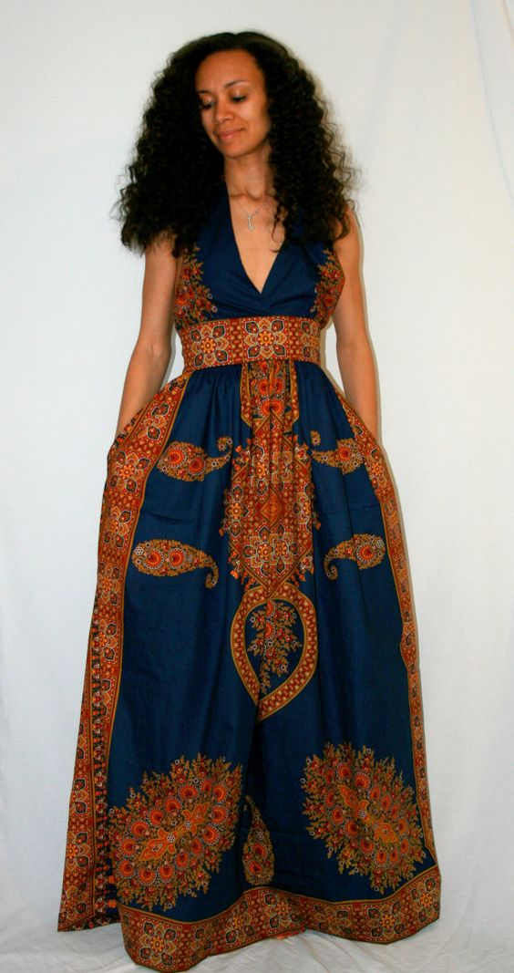 African Print Maxi Dress on Etsy, $165.00