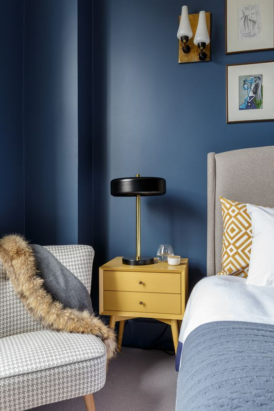 Navy Blue And Mustard Yellow Decor Home Overload Yellow Bedroom Decor Blue Yellow Bedrooms Yellow Master Bedroom