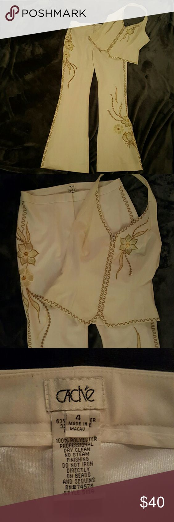 Cache 2 peice Halter and Pants Beautiful white with gold beading and embroidery halter pant suit. Some wear on zipper on halter. Top was worn more than bottoms (really nice with jeans!) Can be purchased separately. Top also seems a tad darker. Cache Pants