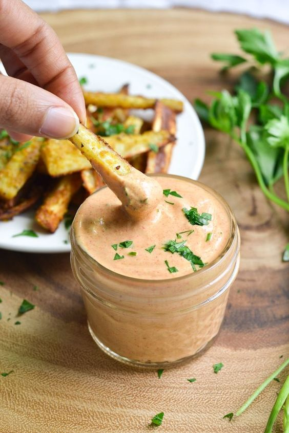 Cheezy Parsnip Fries with Smoky Tahini Sauce - A Dash of Soul