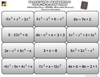 Printables Classifying Polynomials Worksheet free four in a row game classifying polynomials classroom stuff polynomials