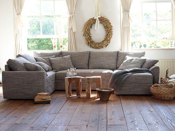 Farmhouse wooden floors gray sectional wheat wreath for Sectional sofa farmhouse