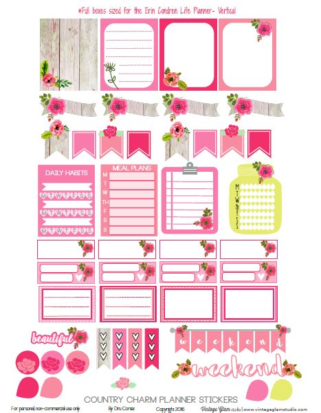 Free Country Charm Planner Stickers {page 1} from Vintage Glam Studio