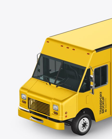 Food Truck Mockup Left Half Side View In Vehicle Mockups On Yellow Images Object Mockups Mockup Psd Mockup Free Psd Free Psd Mockups Templates